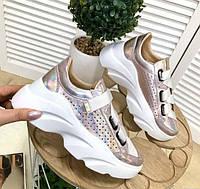 Женские кроссовки с перфорацией кожа сатин 2652ТОПС