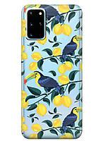 Прозрачный силиконовый чехол iSwag для Samsung Galaxy S20 Plus Туканы и лимоны M1100, КОД: 1604783
