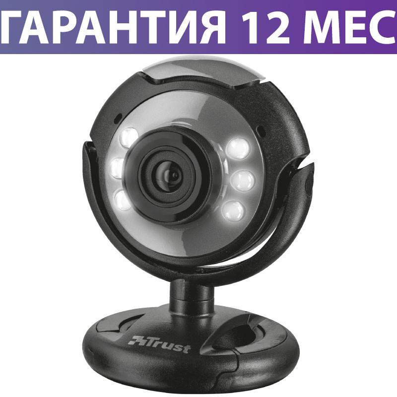 Веб-камера Trust SpotLight, Black, 0.3 Mp, 640x480, USB 2.0, встроенный микрофон, LED подсветка (16429)