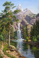 Алмазная вышивка Горный водопад 40x60 см квадратные камни полная Чаривний диамант