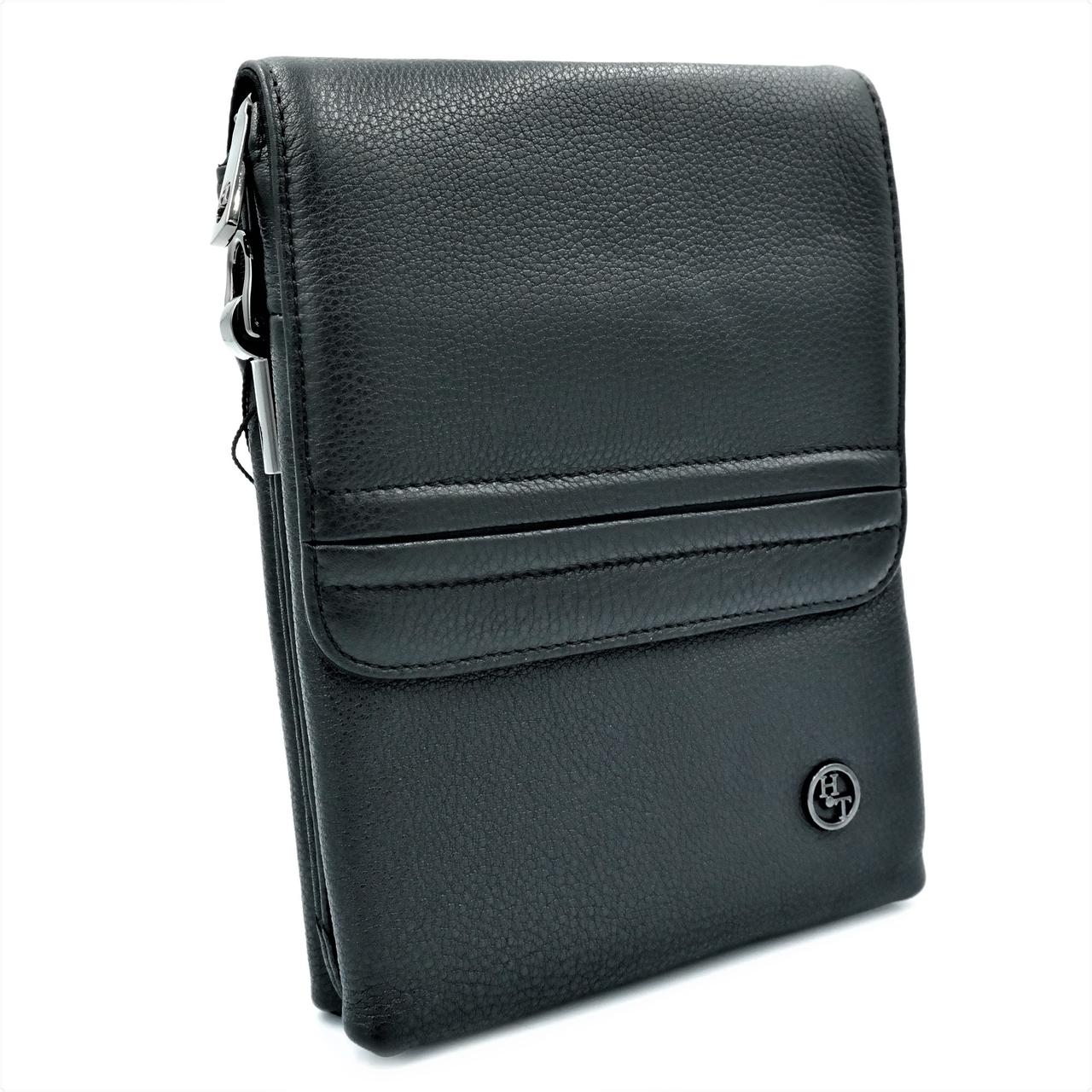 Мужская кожаная сумка H.T.Leather Черный (5416-6)