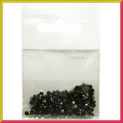 Камни Стразы  для Ногтей  Акриловые Черные с Золотисто-Желтым Отливомв Наборе, размер 3 мм, Дизайн Ногтей