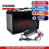 Тяговый AGM аккумулятор Fisher 90a/h + З/У 10А. Комплект; (Тяговый аккумулятор Фишер);