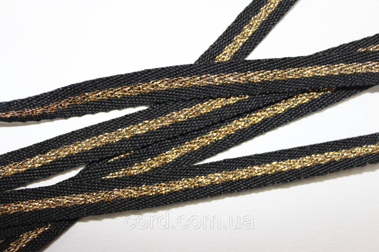 Тесьма Киперная 10мм 50м черный + золото