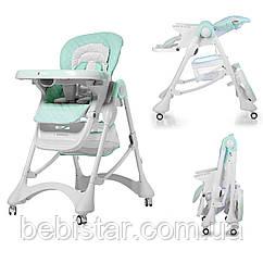 Стульчик для кормления мятный CARRELLO Caramel CRL-9501/3 Sky Blue деткам от 6 до 36 месяцев