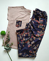Жіноча піжама з трикотажними штанами, фото 1