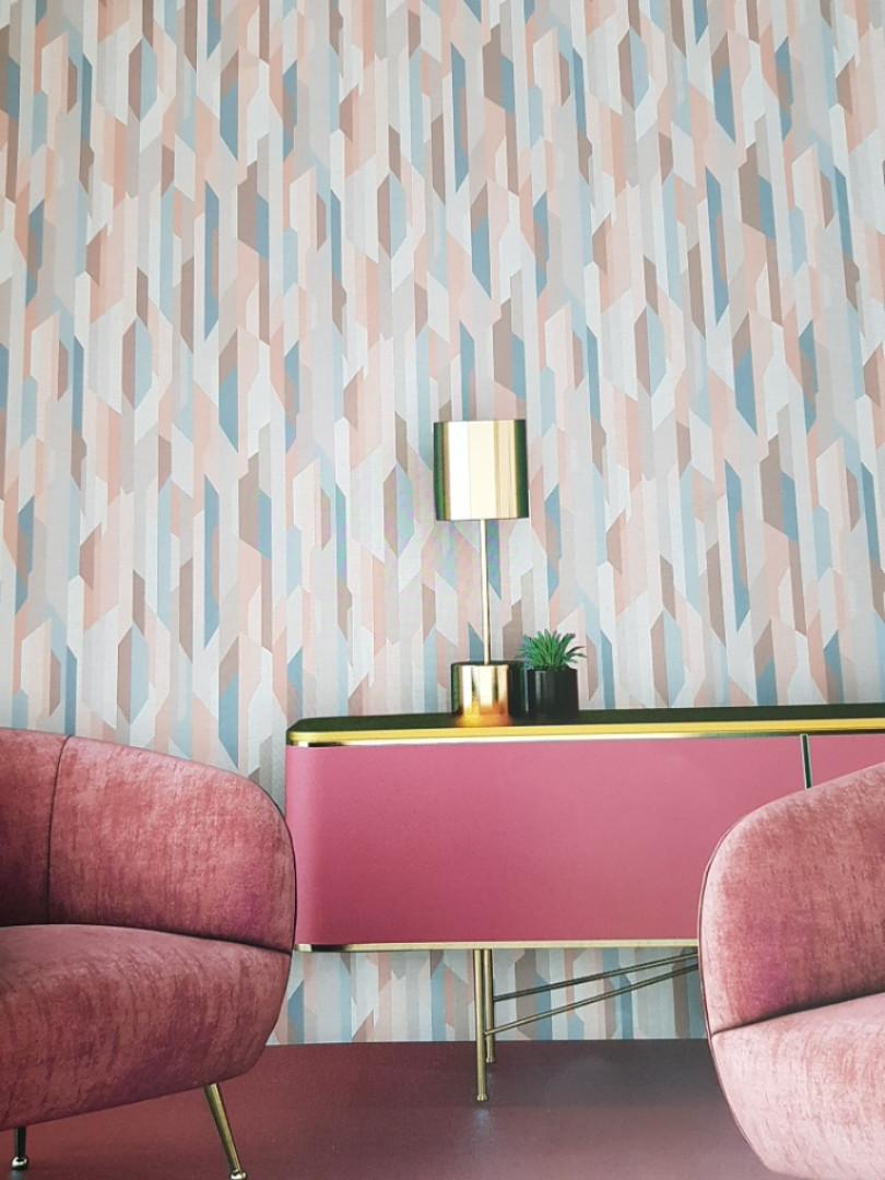 Ообои виниловые на флизелине Decoprint Moments MO22820 геометрия абстракция разные цвета розовый голубой