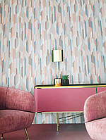 Ообои виниловые на флизелине Decoprint Moments MO22820 геометрия абстракция разные цвета розовый голубой, фото 1