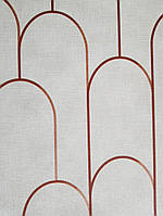Ообои виниловые на флизелине Decoprint Moments MO22830 геометрия полосы полукруг красные на светло сером