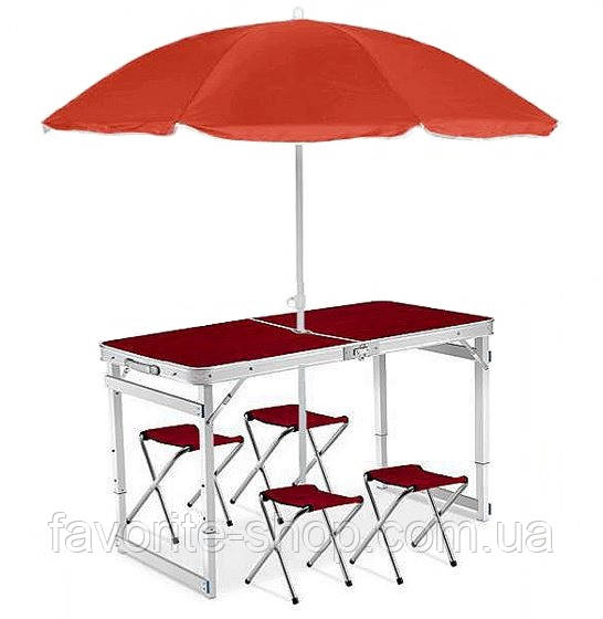 Усиленный складной стол + 4 стула +  зонт