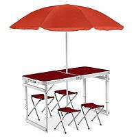 Усиленный складной стол + 4 стула +  зонт, фото 1