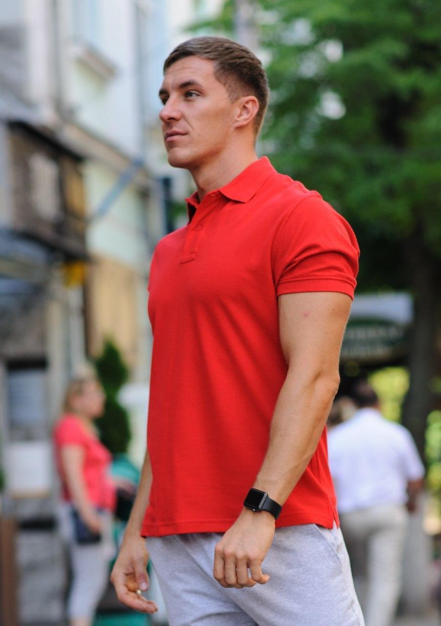 Футболка поло мужская красная производство Украина 100 % хлопок КАЧЕСТВО ТОП! Все размеры!