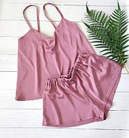 Женская шелковая пижама шорты и маечка, фото 1