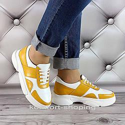 Женские кроссовки на шнуровке кожаные, белые+горчичный   V 1291