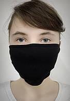 Защитная многоразовая тканевая маска для лица (черная)