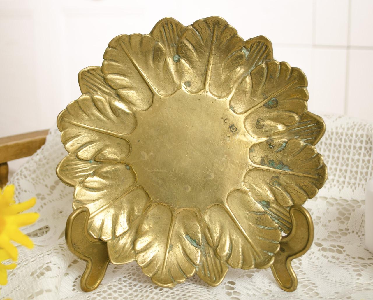 Старая бронзовая тарелка, конфетница в форме цветка, бронза, Германия