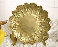 Старая бронзовая тарелка, конфетница в форме цветка, бронза, Германия, фото 1