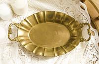 Старая бронзовая тарелка, овальное блюдо, конфетница, бронза Германия, фото 1