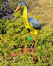 Садовая фигура Цапля большая керамическая на металлических лапах, фото 2