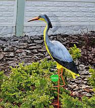 Садовая фигура Цапля большая керамическая на металлических лапах, фото 3