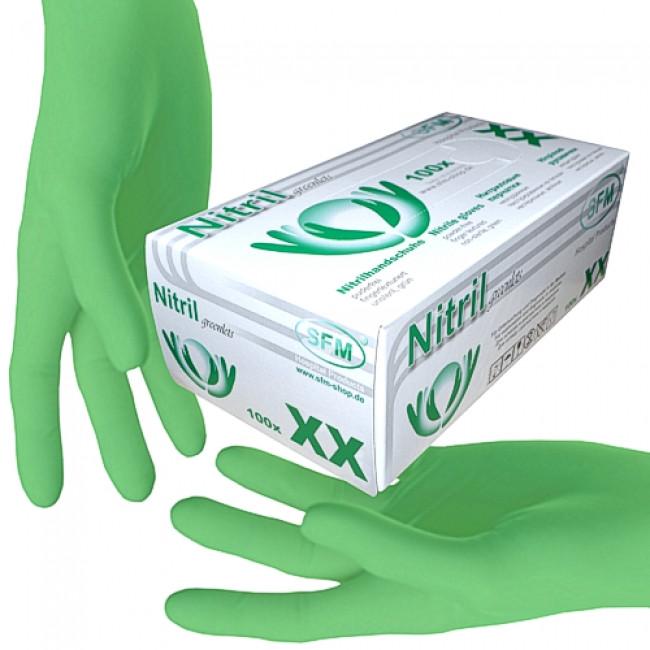 Перчатки НИТРИЛОВЫЕ (ЗЕЛЕНЫЕ) нестерильные неопудренные текстурированные на пальцах (100шт/уп) SFM, размер S