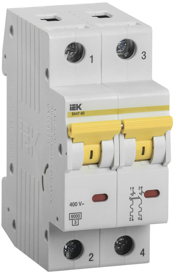 Автоматический выключатель ВА 47-60 2Р  3А 6 кА  х-ка С IEK (MVA41-2-003-C)