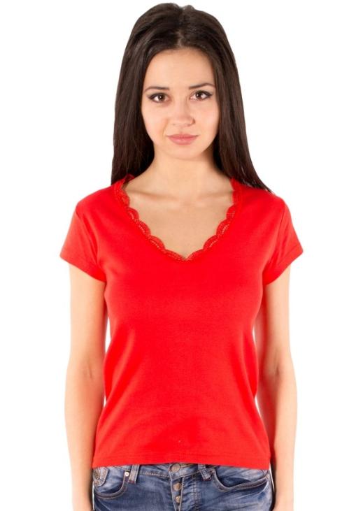 Красная футболка женская летняя яркая с коротким рукавом однотонная хлопок с кружевом трикотажная Украина