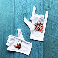 Перчатки хлопковые белые с принтом Old shcool