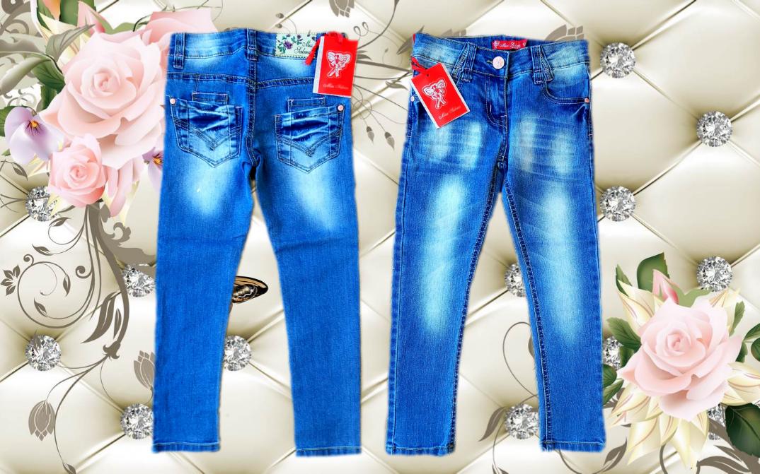 """Детские модные джинсы на девочку """"MISS"""" с регуляторами резиночками по бокам размеры 6-16"""