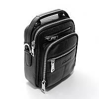 Мужская сумка органайзер Prada 619-634 кожаная черная через плечо из натуральной кожи, фото 1