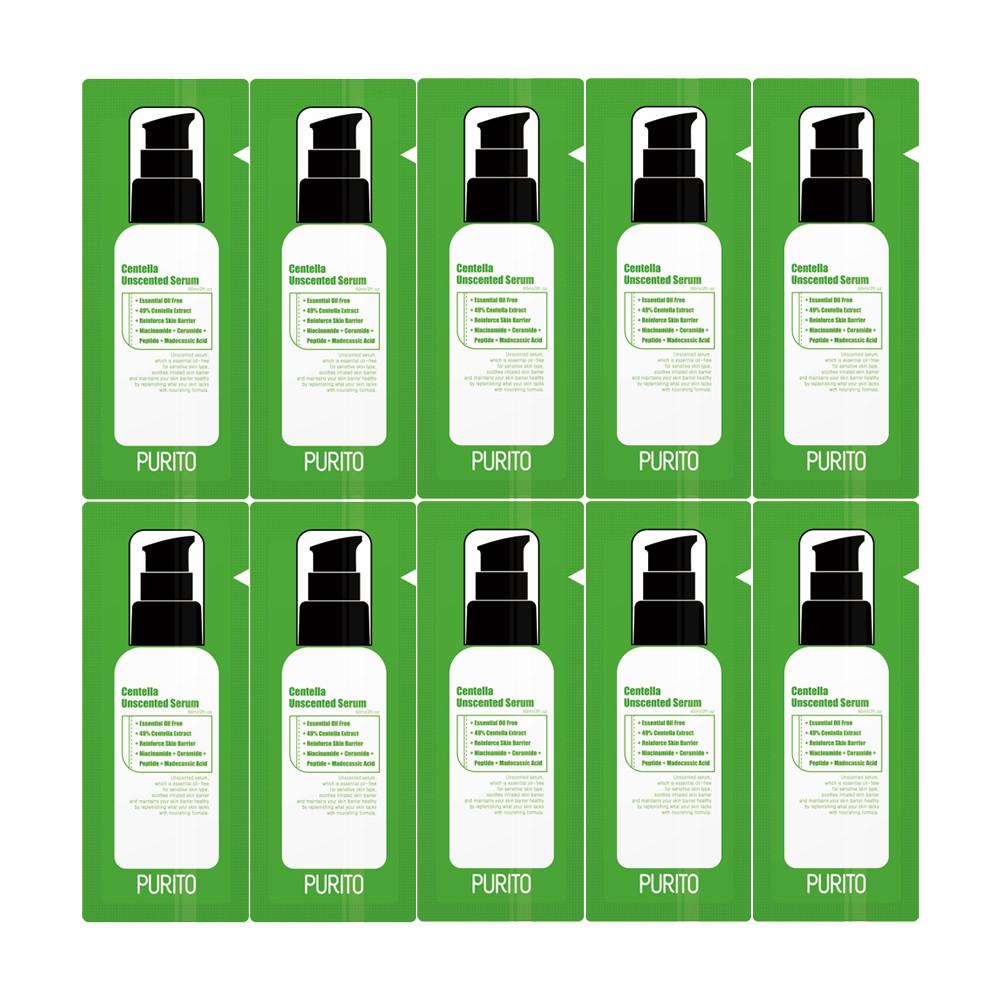 Пробник сывороткас центеллой для чувствительной кожи PuritoCentella Unscented Serum 1 мл Корея
