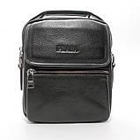Чоловіча шкіряна сумка органайзер 619-547 маленька чорна через плече з натуральної шкіри, фото 4