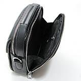 Чоловіча шкіряна сумка органайзер 619-547 маленька чорна через плече з натуральної шкіри, фото 5