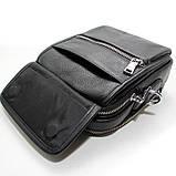 Чоловіча шкіряна сумка органайзер 619-547 маленька чорна через плече з натуральної шкіри, фото 6