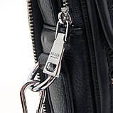 Чоловіча шкіряна сумка органайзер 619-547 маленька чорна через плече з натуральної шкіри, фото 7