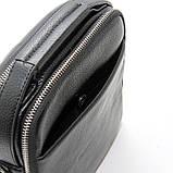 Чоловіча шкіряна сумка органайзер 619-547 маленька чорна через плече з натуральної шкіри, фото 8