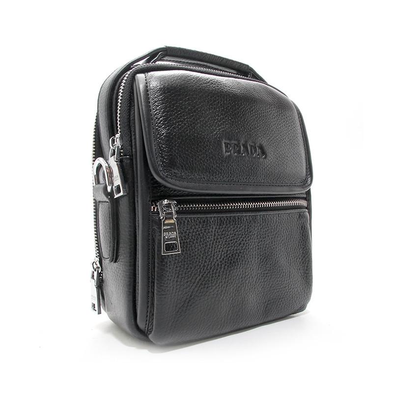 Чоловіча шкіряна сумка органайзер 619-547 маленька чорна через плече з натуральної шкіри