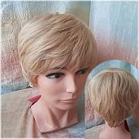 Парик из натуральных волос короткий пышный платиновый 1703-26
