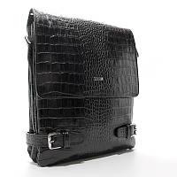 Шкіряна сумка Desisan des-1327-11 чоловіча чорна через плече, фото 1