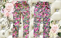 Детские леггинсы Цветы на девочку СЕРЫЕ размер 28