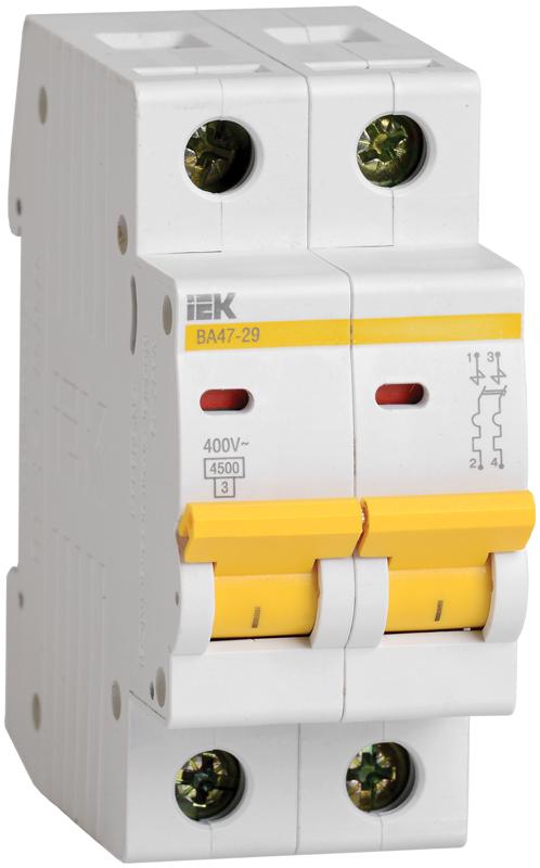 Автоматический выключатель ВА47-29 2P  4A 4,5кА х-ка B IEK (MVA20-2-004-B)