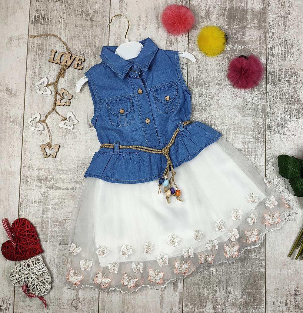 Платья детские с пояском на лето джинсовые №265
