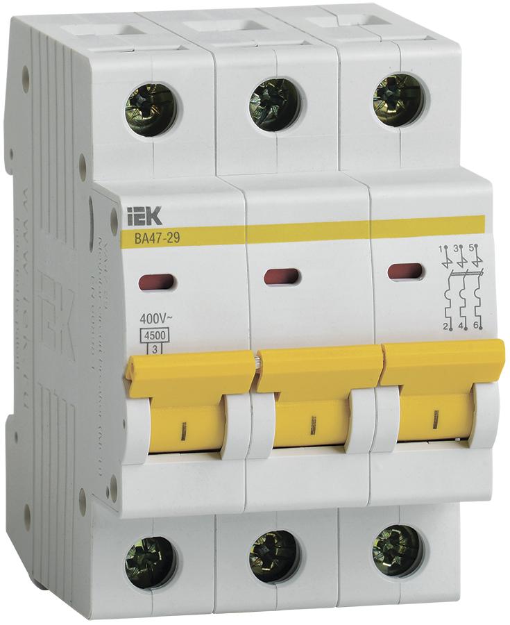 Автоматический выключатель ВА47-29 3P  4A 4,5кА х-ка B IEK (MVA20-3-004-B)