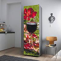 """Виниловая наклейка на холодильник.""""Красные вино и листья"""""""