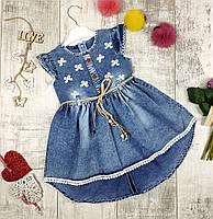 Платья детские с пояском на лето джинсовые №408, фото 1