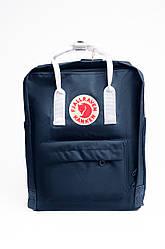 Стильный рюкзак Fjallraven Kanken Classic 16 л с белыми ручками, синий