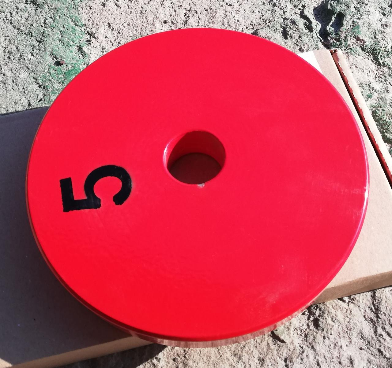 Блины для штанги, диски для зала. Блин/диск Стальной 5 кг - красный