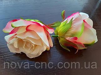 Роза бутон, тканевая молочно-розовая 7 см 15 шт в упаковке