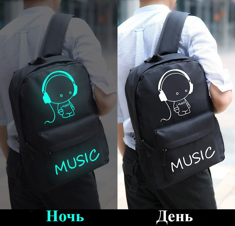 Школьный городской Рюкзак со светящимся мальчиком + подарок сумка и пенал!  Код 15-6776