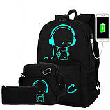 Школьный городской Рюкзак со светящимся мальчиком + подарок сумка и пенал!  Код 15-6782, фото 2